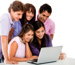 Casual group with laptop
